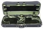 JAEGER Violin-Doppelkoffer Prestige Außen schwarz mit Carbonoptik