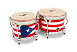 Latin Percussion Bongo Matador Wood Puerto Rican Flag