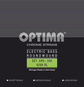 OPTIMA STRINGS FOR ELECTRIC BASS CHROME STRINGS. ROUND WOUND MEDIUM SCALE