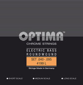 OPTIMA STRINGS FOR ELECTRIC BASS CHROME STRINGS. ROUND WOUND SHORT SCALE