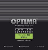 OPTIMA STRINGS FOR ELECTRIC BASS CHROME STRINGS. FLAT WOUND