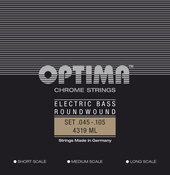 OPTIMA ELEKTRISCHE BASSNAREN CHROOM STRINGS. ROUND WOUND LONG SCALE
