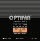 OPTIMA E-BASGITAARSNAREN CHROOM STRINGS. ROUND WOUND LONG SCALE