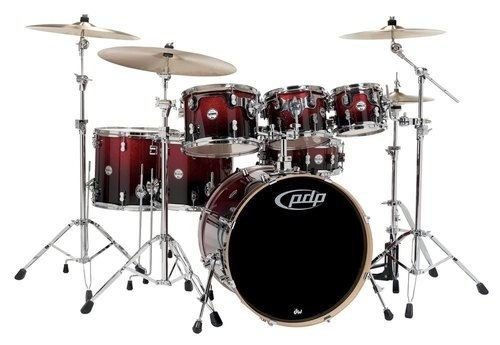 PDP by DW Drumset Concept Maple Red to Black Sparkle Fade
